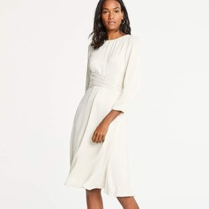 Ann Taylor WRAP FRONT MIDI DRESS IN LUXE IVORY 2